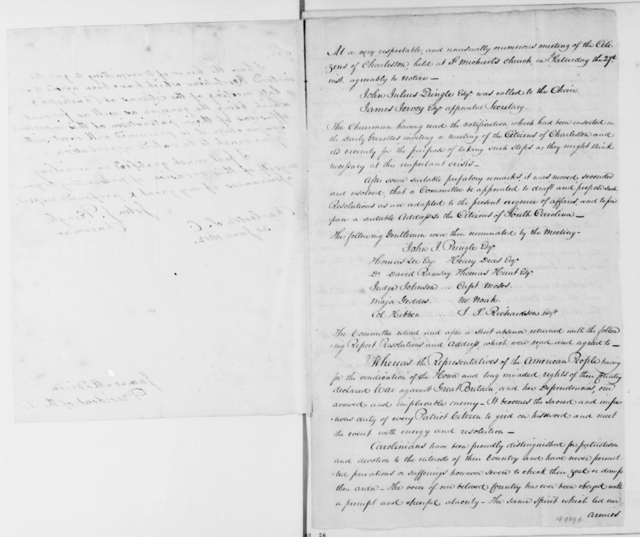 John Pringle to James Madison, June 30, 1812. Resolutions from the residents of Charleston South Carolina.