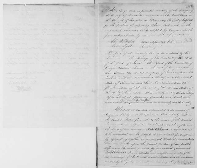 John Whitehill to James Madison, July 1, 1812. With Resolutions. John Light co-signer.