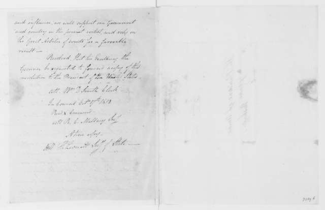 Jonas Galusha to James Madison, November 7, 1812. Includes resolutions of the Vermont Legislature, Oct. 13 1812.