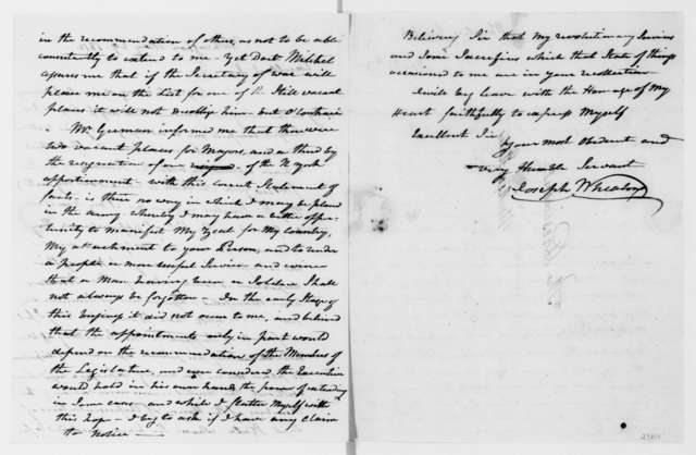Joseph Wheaton to James Madison, May 29, 1812.