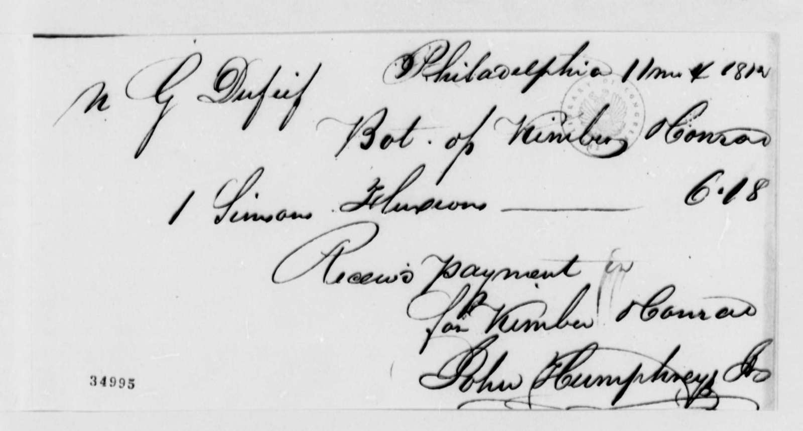 Kimber to Nicholas Gouin Dufief, November 4, 1812, Receipt