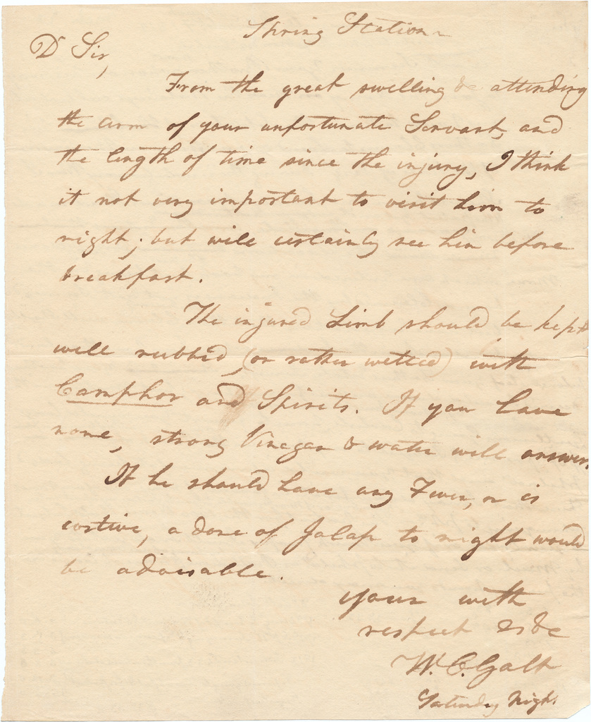 Letter from Dr. William Galt to an unknown correspondent