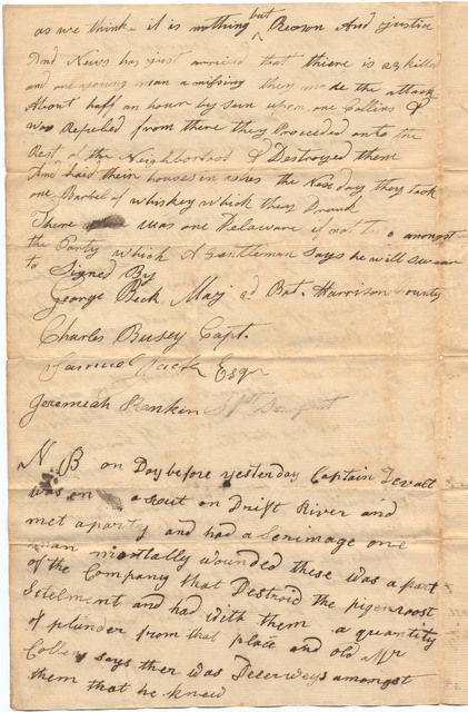 Letter from George Beck to the governor of Indiana Territory