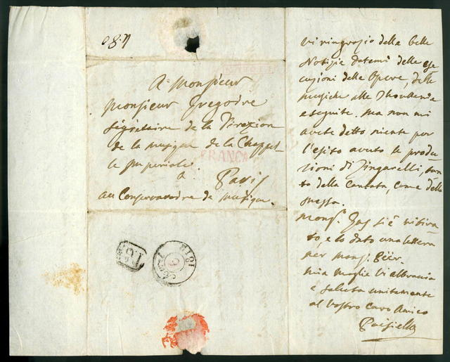Letter from Giovanni Paisiello to Gregoire, 23 March 1812
