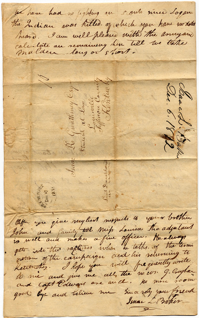 Letter from Isaac Baker to Isaac Gwathmey