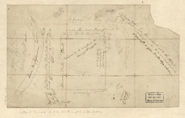 [Map of the camp of Lt. Col. John R. Campbell on the bank of the Mississinewa River, December 18, 1812 with details of attack by indians.]