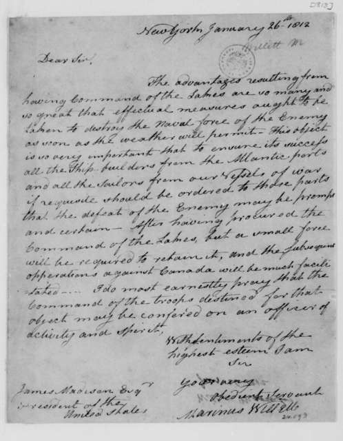 Marinus Willette to James Madison, January 26, 1812.