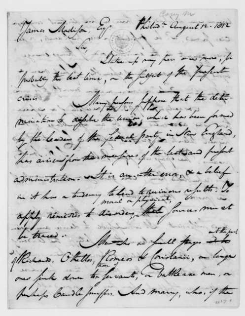 Mathew Carey to James Madison, August 12, 1812. With Clipping.