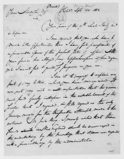 Mathew Carey to James Madison, September 24, 1812.