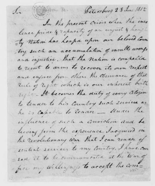 Mordecai Barbour to James Madison, June 28, 1812.