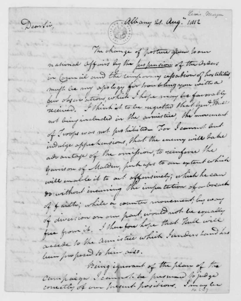 Morgan Lewis to James Madison, August 21, 1812.