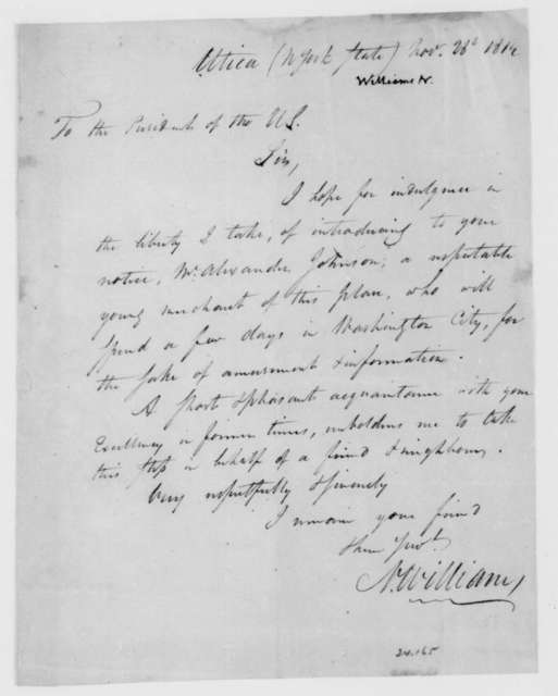 N. Williams to James Madison, November 28, 1812.