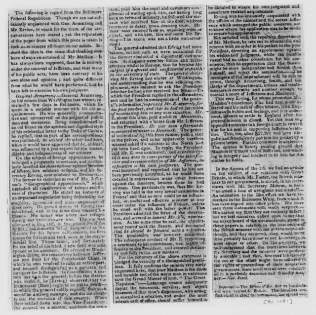 National Intelligencer, March, 1812. Criticism, clip of an article from the Baltimore Federal Republican, extracted in the National Intelligencer.