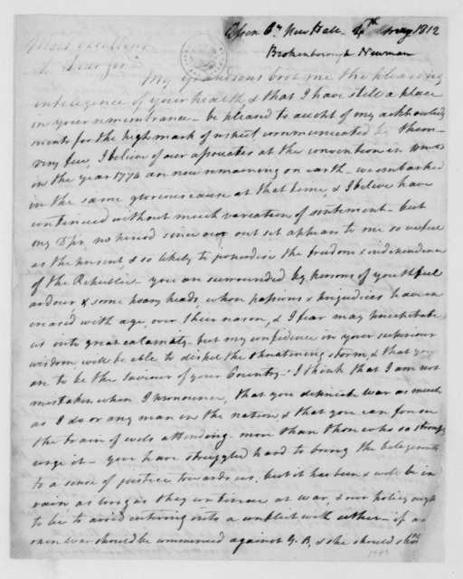 Norman Brockenbrough to James Madison, May 4, 1812.