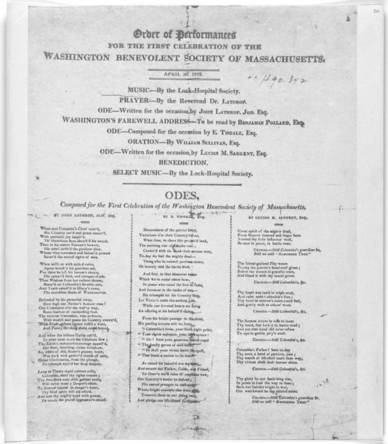 Order of performances for the first celebration of the Washington benevolent society of Massachusetts. April 30, 1812 .... Odes, composed for the first celebration of the Washington Benevolent Society of Massachusetts. [Boston 1812].