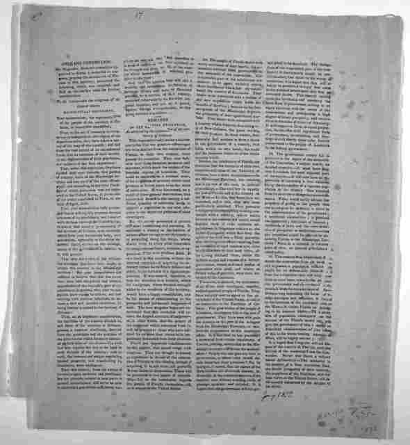 Orleans convention. Mr. Magruder, from the committee appointed to frame a memorial to congress, praying the annexation of Florida to this territory, presented the following, which was received, and laid on the clerk's table for further considera