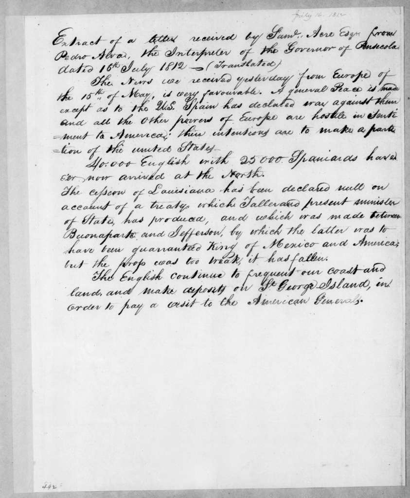 Pedro Alva to S. Acre, July 16, 1812