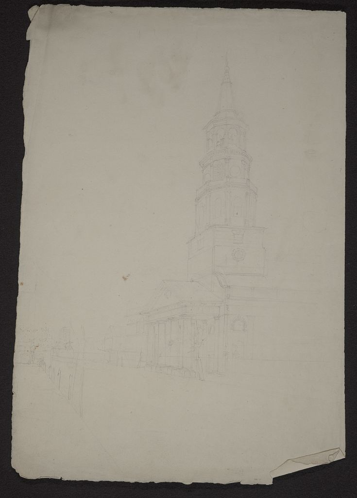 [Perspective view of Broad Street in Charleston, South Carolina, with St. Michaels Church at right center]