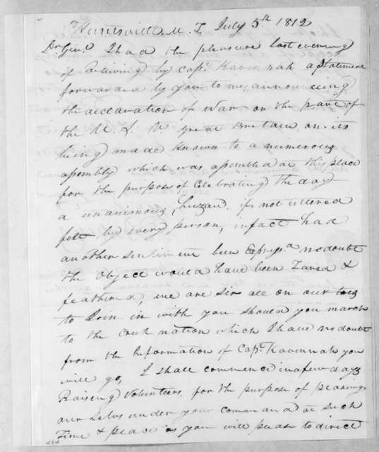 Peter Perkins to Andrew Jackson, July 5, 1812
