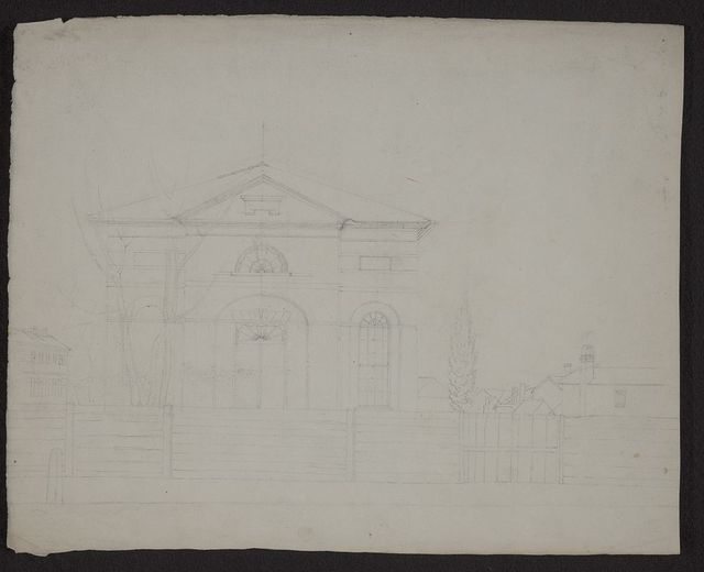 "[Preliminary sketch for neoclassic building with ""MDCCXIX"" on pediment, Charleston, S.C.]"