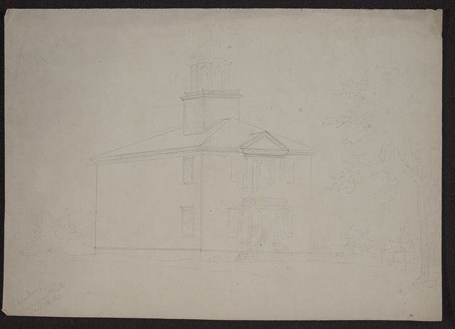 [Preliminary sketch of a large public building in Charleston, South Carolina, with small pediment and cupola]
