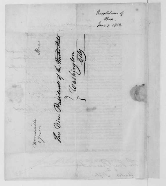 Return J. Meigs to George Clinton, January 1, 1812. With printed Resolution of the State of Ohio General Assembly.