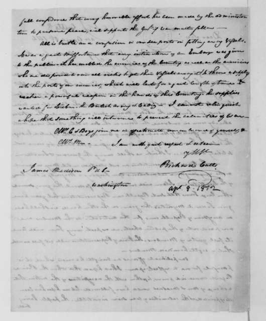 Richard Cutts to James Madison, April 8, 1812.