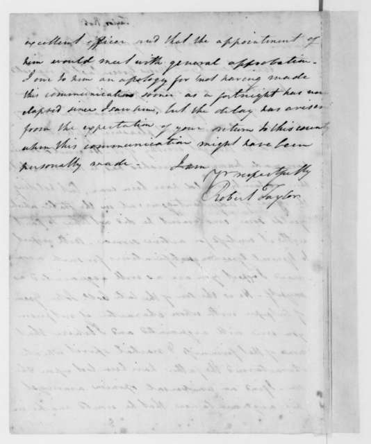 Robert Taylor to James Madison, August 31, 1812.
