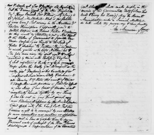 Rosewell Saltonstall to James Madison, July 31, 1812. With two articles.