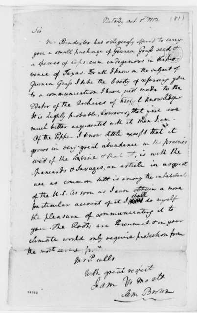 Samuel Brown to Thomas Jefferson, October 1, 1812