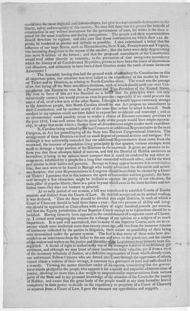 Springfield, December 27, 1812. Dear Sir, The General Assembly adjourned on the 25th instant after a very interesting and I may truly say disorderly session of forty days ... The first circumstance deserving your notice is the vote of North Caro