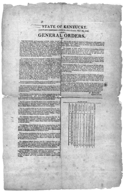 State of Kentucky. Adjutant-general's office - Frankfort, May 5th, 1812. General Orders, [Frankfort, 1812].