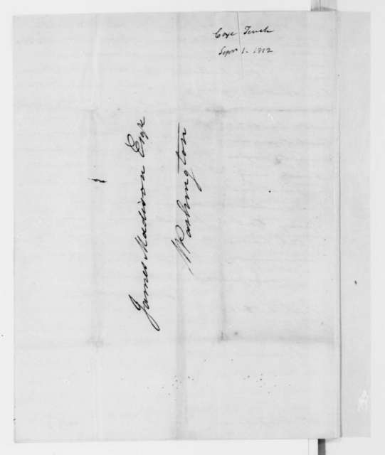 Tench Coxe to James Madison, September 1, 1812.
