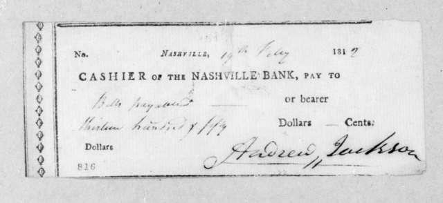 The Nashville Bank to Andrew Jackson, February 19, 1812