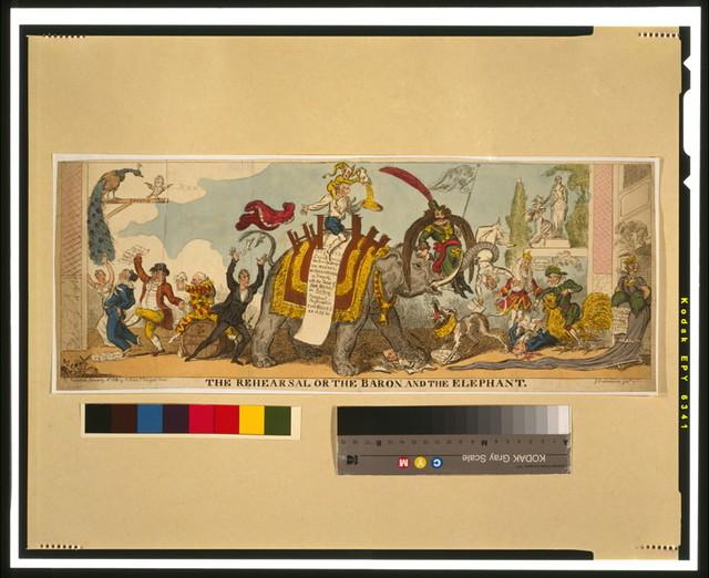 The rehearsal or the baron and the elephant / G. Cruikshank, fect.