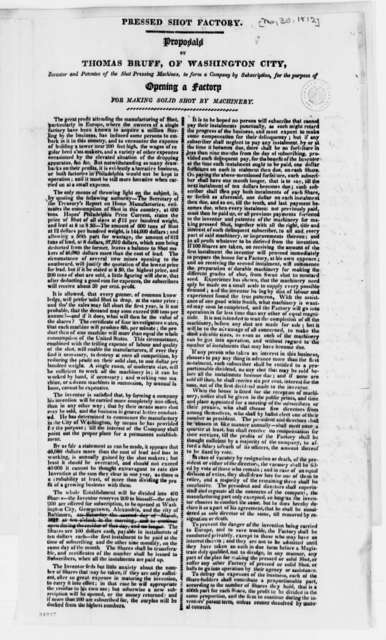 Thomas Bruff, May 30, 1812, Printed Proposal for Shot Pressing Machine and List