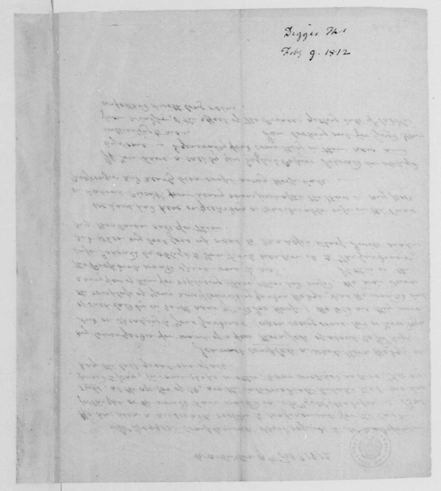 Thomas Digges to James Madison, February 9, 1812.