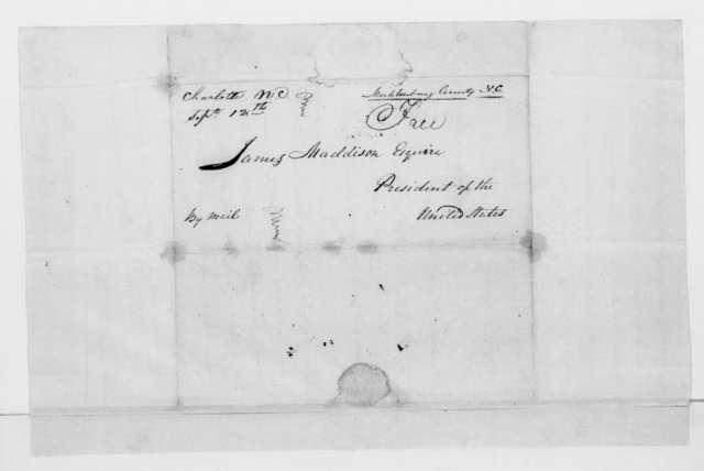 Thomas Henderson to James Madison, September 10, 1812. Address by Mecklenburg County North Carolina citizens.