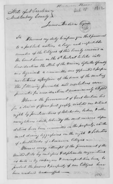 Thomas Henderson to James Madison, September 10, 1812. Address by Mecklenburg County North Carolina citizens.