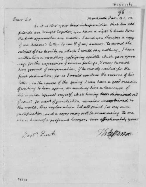 Thomas Jefferson to Benjamin Rush, January 21, 1812, with Copies of Letters between Thomas Jefferson and John Adams
