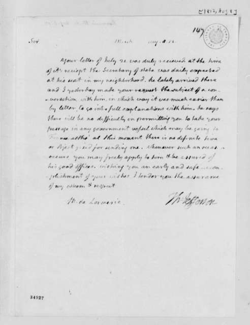 Thomas Jefferson to De Lormerie, August 8, 1812