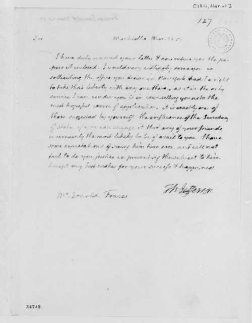 Thomas Jefferson to Donald Fraser, March 21, 1812
