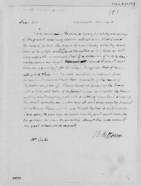 Thomas Jefferson to James P. Cocke, April 24, 1812