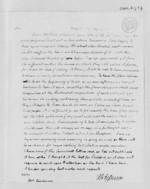 Thomas Jefferson to Jeremiah A. Goodman, August 9, 1812