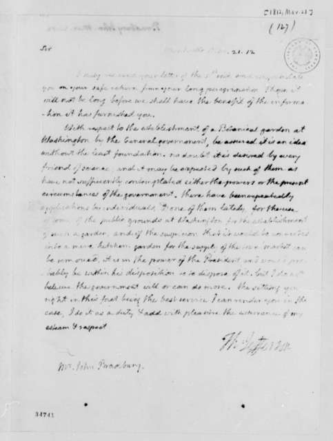 Thomas Jefferson to John Bradbury, March 21, 1812