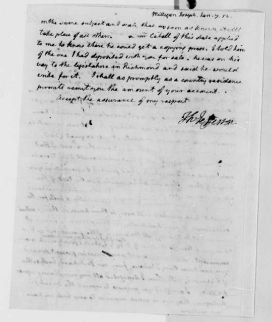 Thomas Jefferson to Joseph Milligan, January 7, 1812