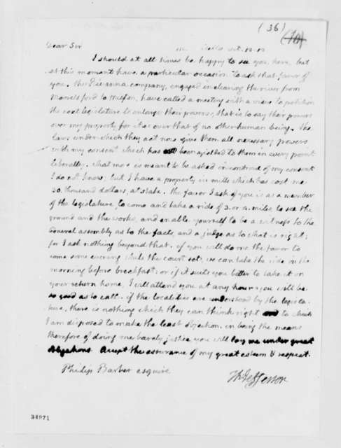 Thomas Jefferson to Philip P. Barbour, October 12, 1812