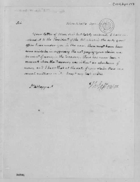 Thomas Jefferson to St. Leger D'Happart, April 17, 1812