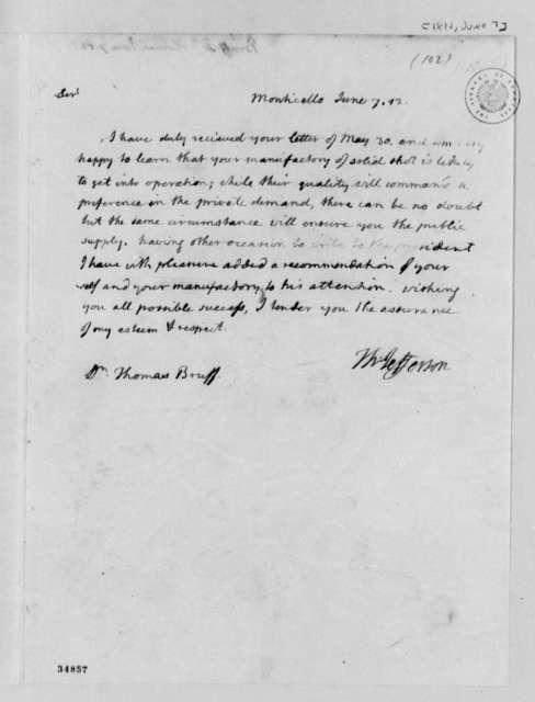 Thomas Jefferson to Thomas Bruff, June 7, 1812