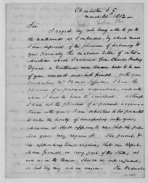 Thomas Lehre to James Madison, March 30, 1812.